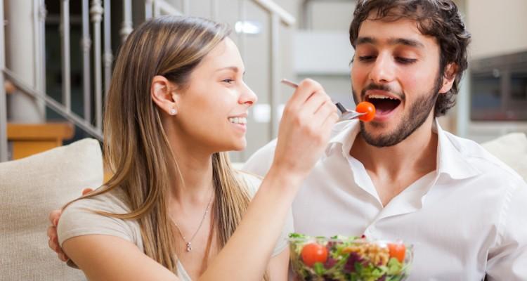 Couple eating a salad