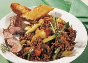 Currylinsen-Pfanne mit Lamm