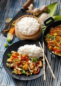 Wok-Gemüse mit Huhn+Reis