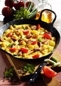 Kartoffel-Omelette m Wurst