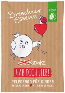 DEU, SACHSEN, Dresden, 25.02.2016: Tuete mit Badezusatz, Pflegebad fuer Kinder - Dreckspatz - Hab Dich Lieb!, aus der Reihe Dresdner Essenz, Produktfotografie fuer die Fa. Li-iL GmbH Dresden;