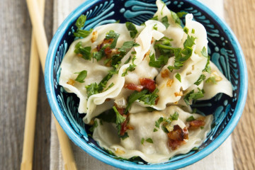 Chinese dumplings with meat and herbs