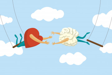 Cartoon illustration of teamwork between heart and brain on flying trapeze