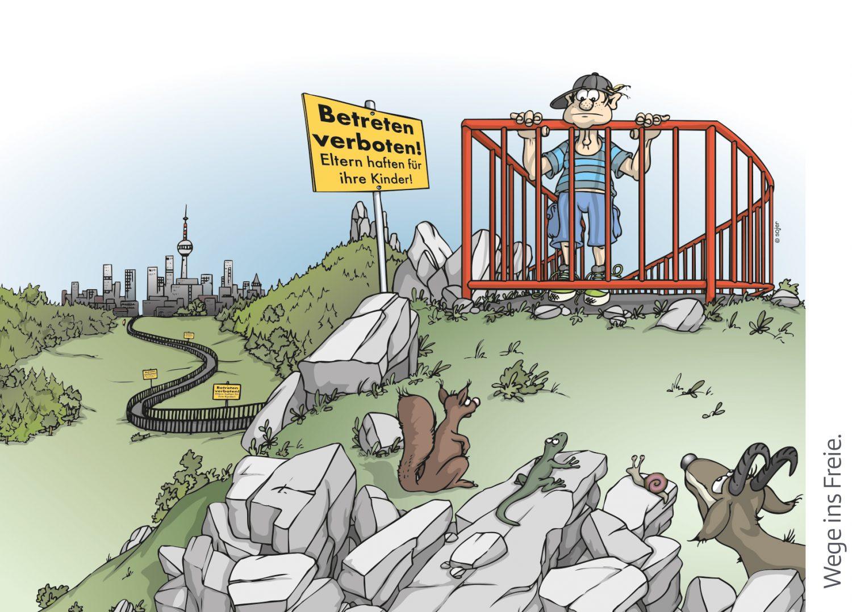 ÖAV_Cartoon Verantwortung_Wege ins Freie