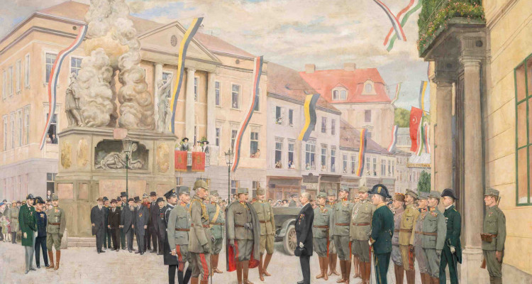 4_Besuch des deutschen Kaisers Wilhelm II. bei Kaiser Karl in Baden am 6. Juli 1917_Carl Probst,_Öl auf Leinwand_c_Rollettmuseum Baden_Städtische Sammlungen